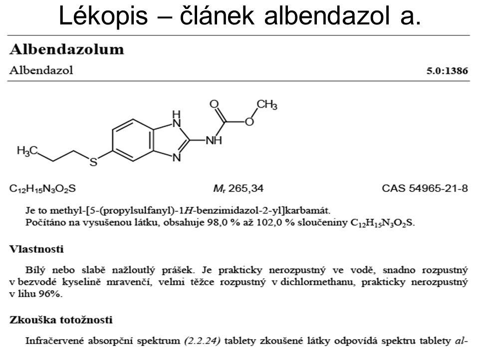 Lékopis – článek albendazol a.