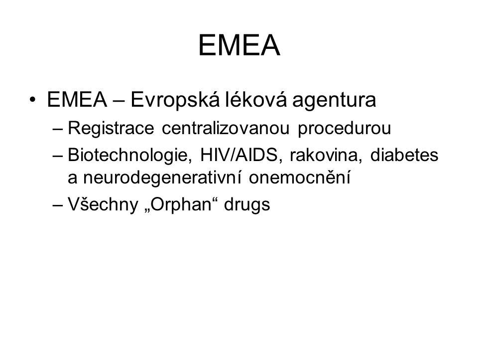 EMEA EMEA – Evropská léková agentura –Registrace centralizovanou procedurou –Biotechnologie, HIV/AIDS, rakovina, diabetes a neurodegenerativní onemocn