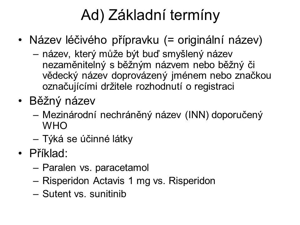 Ad) Základní termíny Název léčivého přípravku (= originální název) –název, který může být buď smyšlený název nezaměnitelný s běžným názvem nebo běžný