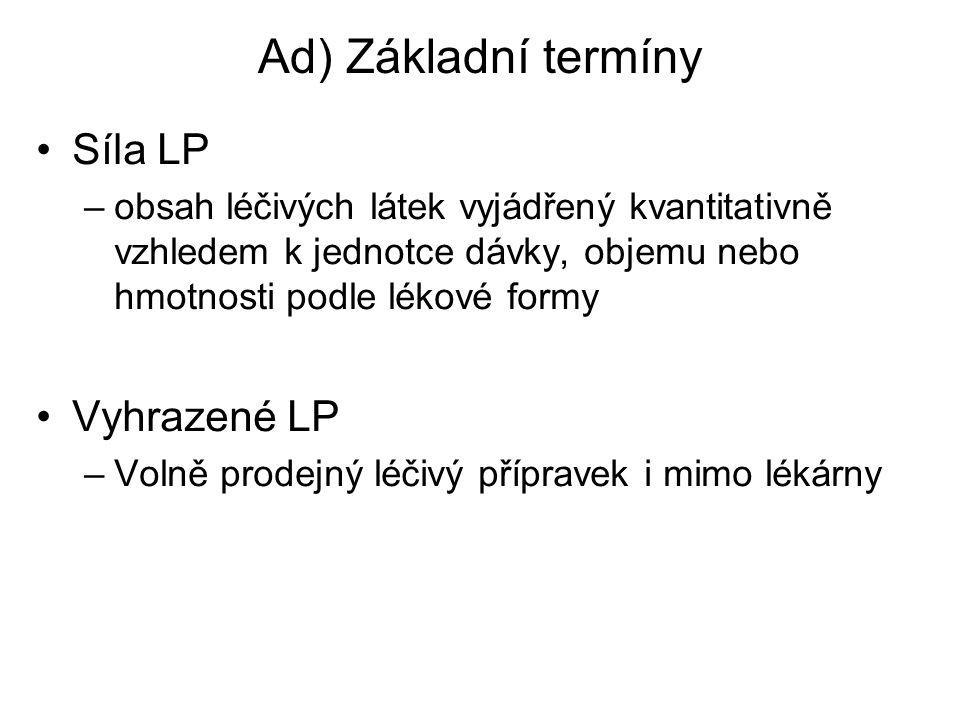 Ad) Základní termíny Síla LP –obsah léčivých látek vyjádřený kvantitativně vzhledem k jednotce dávky, objemu nebo hmotnosti podle lékové formy Vyhraze