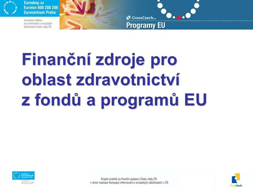 Finanční zdroje pro oblast zdravotnictví z fondů a programů EU