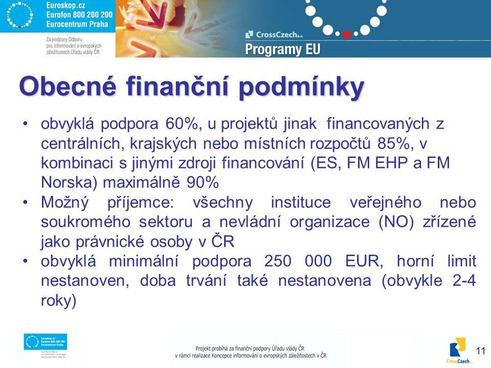 11 Obecné finanční podmínky obvyklá podpora 60%, u projektů jinak financovaných z centrálních, krajských nebo místních rozpočtů 85%, v kombinaci s jinými zdroji financování (ES, FM EHP a FM Norska) maximálně 90% Možný příjemce: všechny instituce veřejného nebo soukromého sektoru a nevládní organizace (NO) zřízené jako právnické osoby v ČR obvyklá minimální podpora 250 000 EUR, horní limit nestanoven, doba trvání také nestanovena (obvykle 2-4 roky)