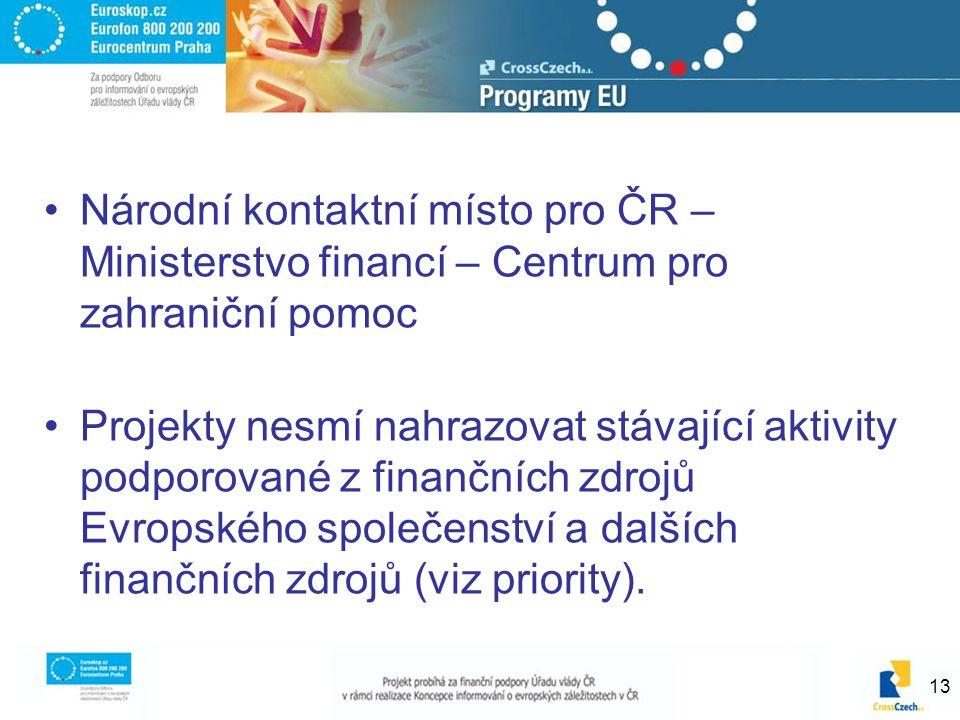 13 Národní kontaktní místo pro ČR – Ministerstvo financí – Centrum pro zahraniční pomoc Projekty nesmí nahrazovat stávající aktivity podporované z finančních zdrojů Evropského společenství a dalších finančních zdrojů (viz priority).