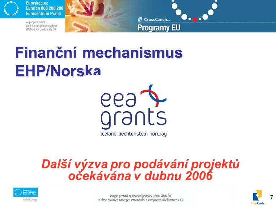 7 Finanční mechanismus EHP/Norska Další výzva pro podávání projektů očekávána v dubnu 2006