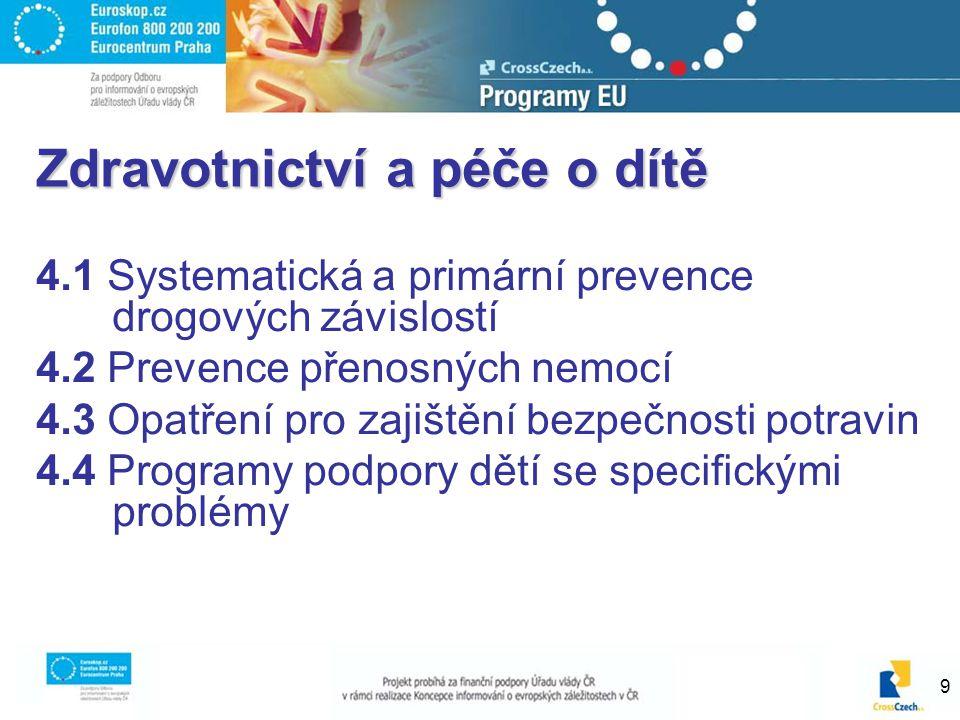 9 Zdravotnictví a péče o dítě 4.1 Systematická a primární prevence drogových závislostí 4.2 Prevence přenosných nemocí 4.3 Opatření pro zajištění bezpečnosti potravin 4.4 Programy podpory dětí se specifickými problémy