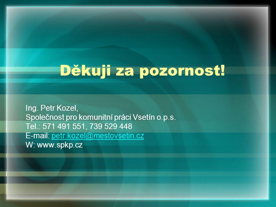 Děkuji za pozornost. Ing. Petr Kozel, Společnost pro komunitní práci Vsetín o.p.s.