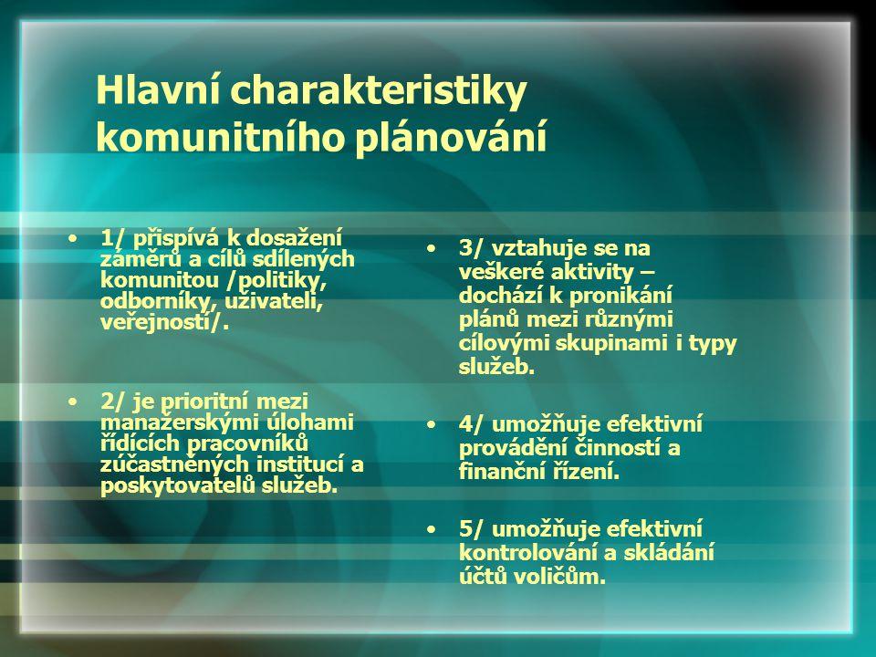 Hlavní charakteristiky komunitního plánování 1/ přispívá k dosažení záměrů a cílů sdílených komunitou /politiky, odborníky, uživateli, veřejností/.