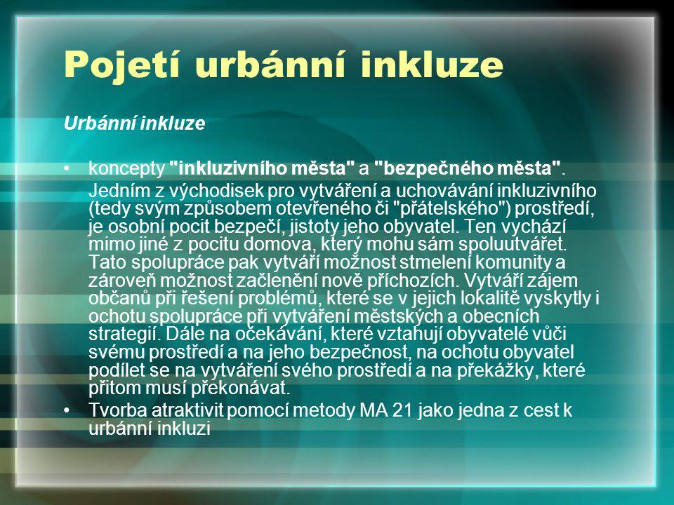 Pojetí urbánní inkluze Urbánní inkluze koncepty inkluzivního města a bezpečného města .