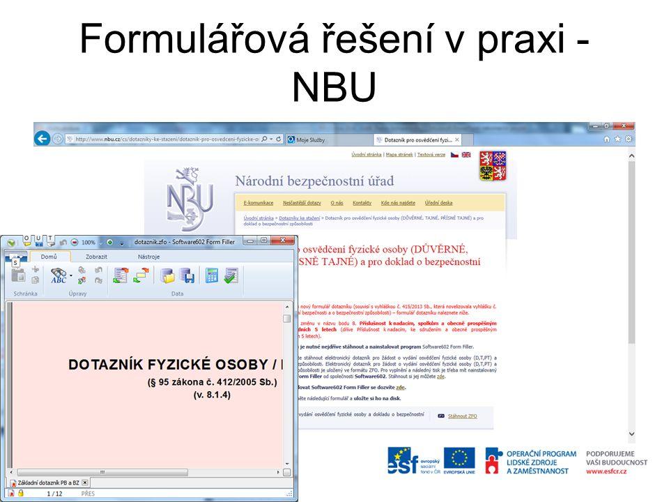 Formulářová řešení v praxi - NBU