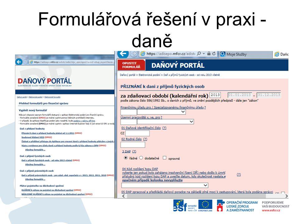 Formulářová řešení v praxi - daně