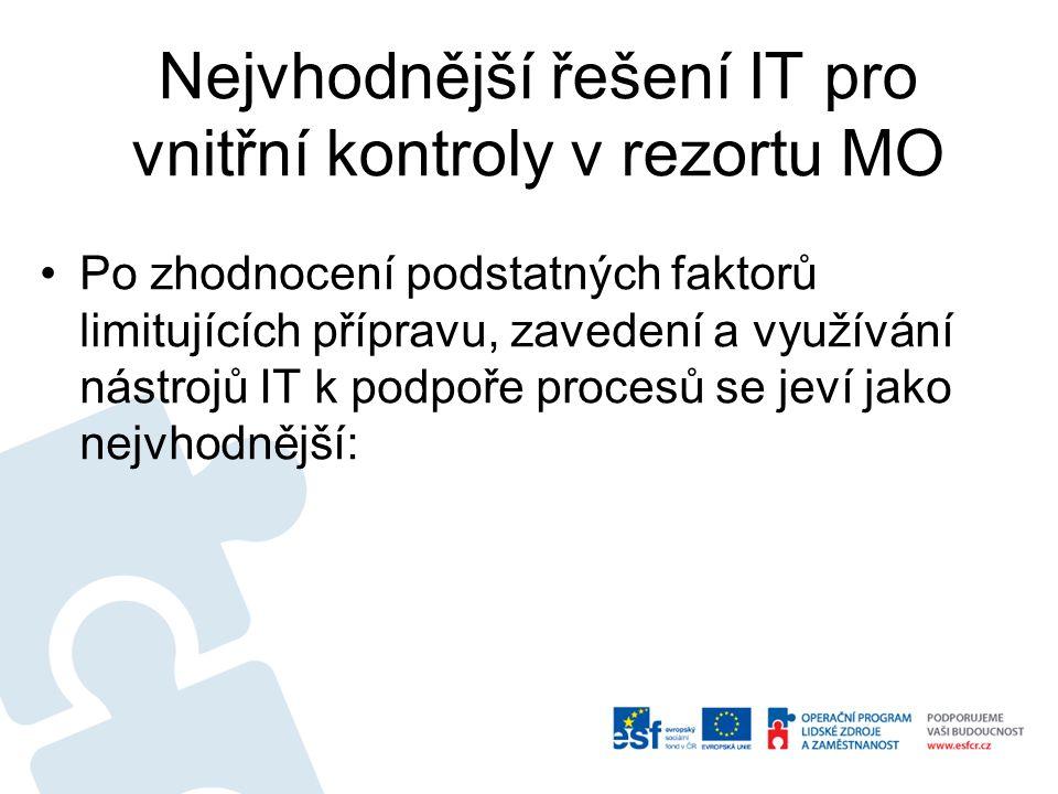 Nejvhodnější řešení IT pro vnitřní kontroly v rezortu MO Po zhodnocení podstatných faktorů limitujících přípravu, zavedení a využívání nástrojů IT k p