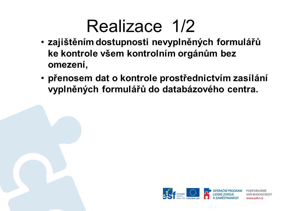Realizace 1/2 zajištěním dostupnosti nevyplněných formulářů ke kontrole všem kontrolním orgánům bez omezení, přenosem dat o kontrole prostřednictvím z