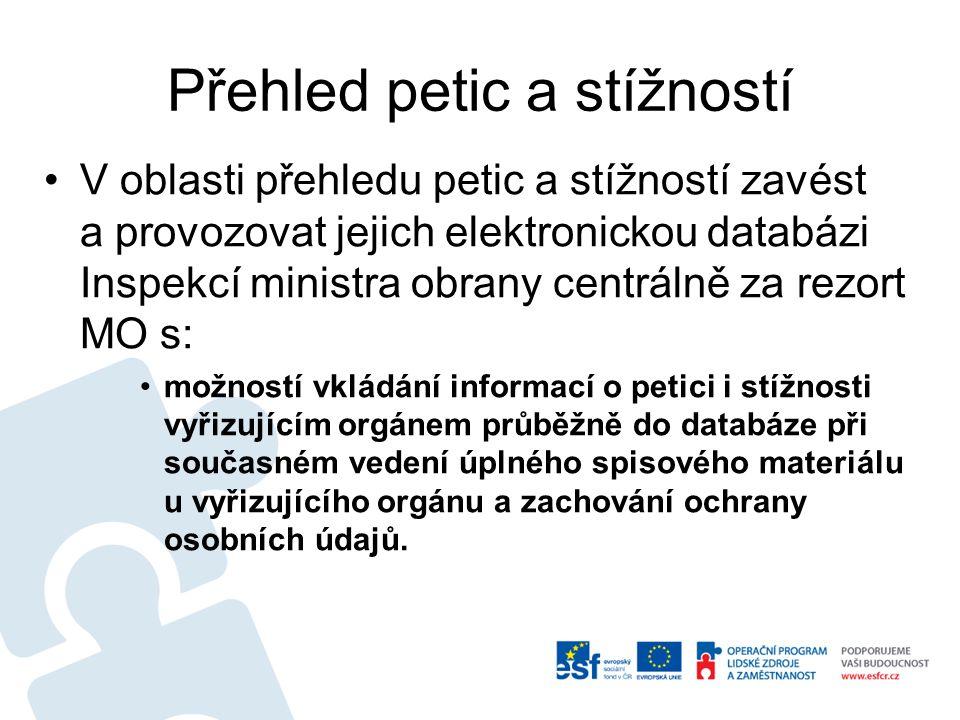 Přehled petic a stížností V oblasti přehledu petic a stížností zavést a provozovat jejich elektronickou databázi Inspekcí ministra obrany centrálně za