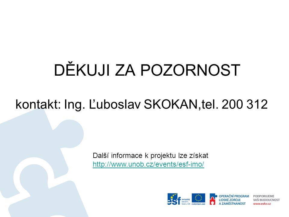 DĚKUJI ZA POZORNOST kontakt: Ing. Ľuboslav SKOKAN,tel. 200 312 Další informace k projektu lze získat http://www.unob.cz/events/esf-imo/