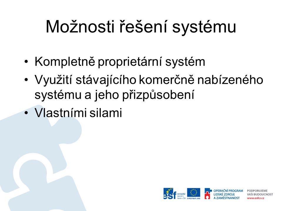 Možnosti řešení systému Kompletně proprietární systém Využití stávajícího komerčně nabízeného systému a jeho přizpůsobení Vlastními silami