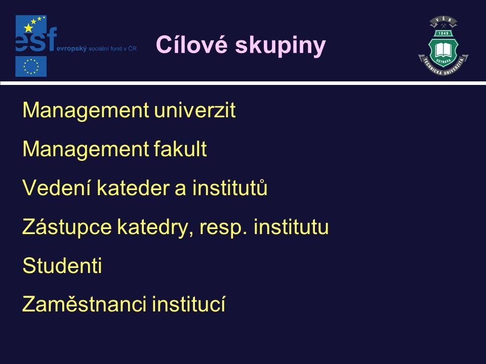 Cílové skupiny Management univerzit Management fakult Vedení kateder a institutů Zástupce katedry, resp.