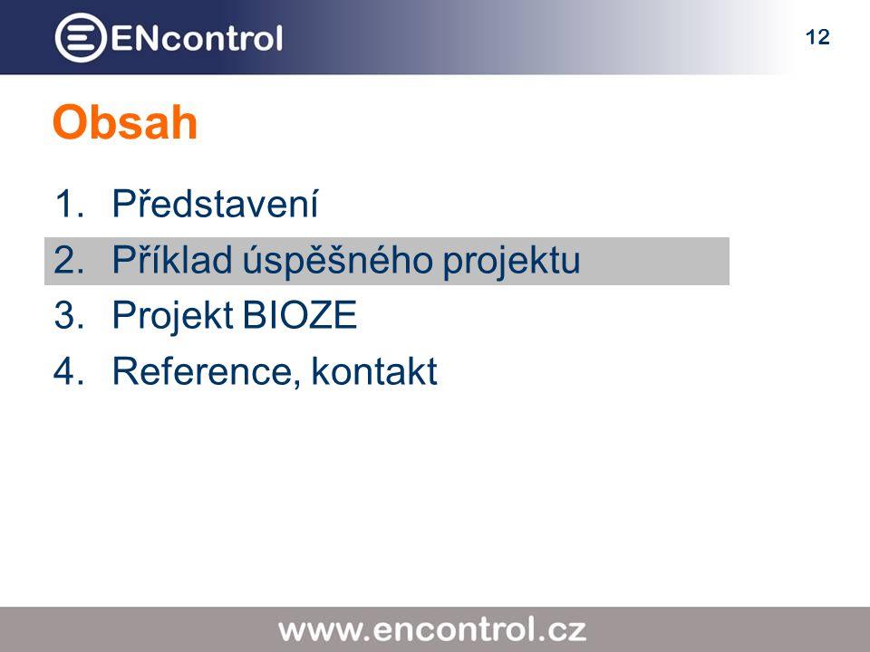 12 Obsah 1.Představení 2.Příklad úspěšného projektu 3.Projekt BIOZE 4.Reference, kontakt