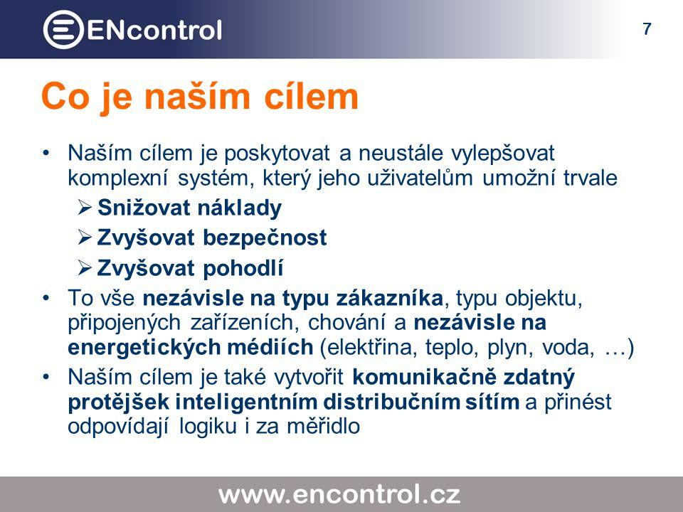 7 Co je naším cílem Naším cílem je poskytovat a neustále vylepšovat komplexní systém, který jeho uživatelům umožní trvale  Snižovat náklady  Zvyšovat bezpečnost  Zvyšovat pohodlí To vše nezávisle na typu zákazníka, typu objektu, připojených zařízeních, chování a nezávisle na energetických médiích (elektřina, teplo, plyn, voda, …) Naším cílem je také vytvořit komunikačně zdatný protějšek inteligentním distribučním sítím a přinést odpovídají logiku i za měřidlo