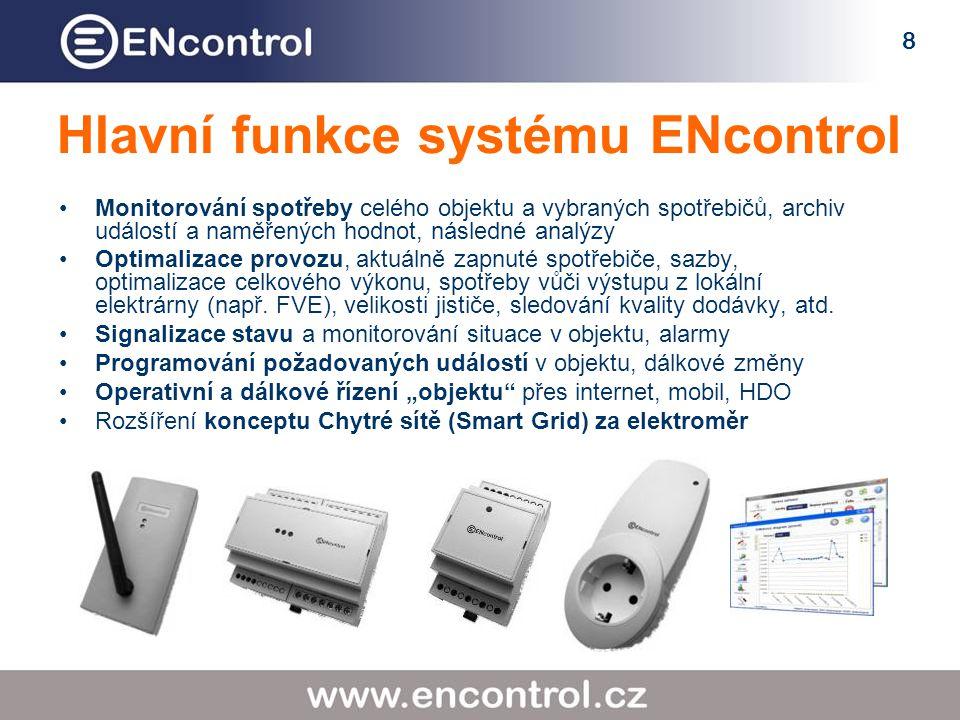 8 Hlavní funkce systému ENcontrol Monitorování spotřeby celého objektu a vybraných spotřebičů, archiv událostí a naměřených hodnot, následné analýzy Optimalizace provozu, aktuálně zapnuté spotřebiče, sazby, optimalizace celkového výkonu, spotřeby vůči výstupu z lokální elektrárny (např.