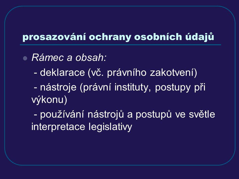 prosazování ochrany osobních údajů Rámec a obsah: - deklarace (vč. právního zakotvení) - nástroje (právní instituty, postupy při výkonu) - používání n