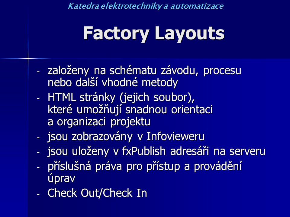 Factory Layouts - založeny na schématu závodu, procesu nebo další vhodné metody - HTML stránky (jejich soubor), které umožňují snadnou orientaci a organizaci projektu - jsou zobrazovány v Infovieweru - jsou uloženy v fxPublish adresáři na serveru - příslušná práva pro přístup a provádění úprav - Check Out/Check In Katedra elektrotechniky a automatizace