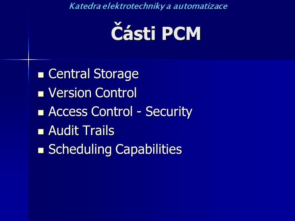 Části PCM Central Storage Central Storage Version Control Version Control Access Control - Security Access Control - Security Audit Trails Audit Trails Scheduling Capabilities Scheduling Capabilities Katedra elektrotechniky a automatizace