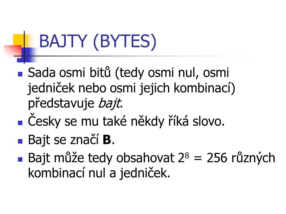 BAJTY (BYTES) Sada osmi bitů (tedy osmi nul, osmi jedniček nebo osmi jejich kombinací) představuje bajt. Česky se mu také někdy říká slovo. Bajt se zn