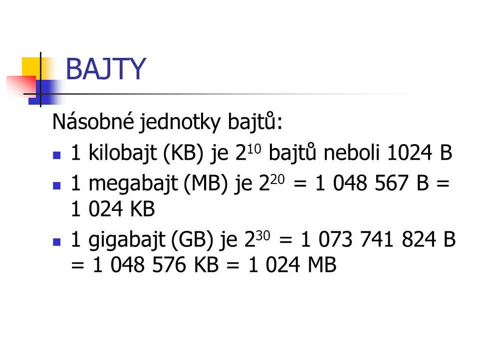 BAJTY Násobné jednotky bajtů: 1 kilobajt (KB) je 2 10 bajtů neboli 1024 B 1 megabajt (MB) je 2 20 = 1 048 567 B = 1 024 KB 1 gigabajt (GB) je 2 30 = 1