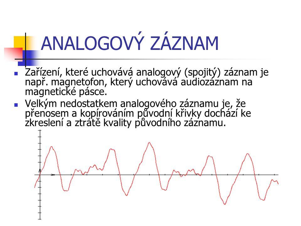 ANALOGOVÝ ZÁZNAM Zařízení, které uchovává analogový (spojitý) záznam je např. magnetofon, který uchovává audiozáznam na magnetické pásce. Velkým nedos