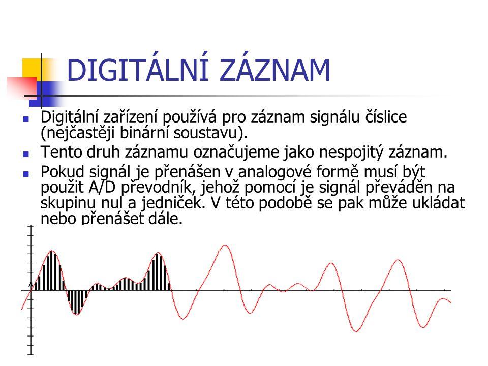 DIGITÁLNÍ ZÁZNAM Vzorkování – zjišťování hodnoty signálu ve stanovených časových intervalech Kvantování − přiřazení každému zjištěnému vzorku hodnoty, které počítač rozumí Kódování − každá takto přiřazená hodnoty je pak uložena ve dvojkové (binární) soustavě Proces digitalizace záznamu se skládá ze tří fází: