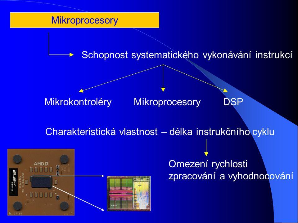 Schopnost systematického vykonávání instrukcí MikrokontroléryMikroprocesoryDSP Mikroprocesory Charakteristická vlastnost – délka instrukčního cyklu Omezení rychlosti zpracování a vyhodnocování