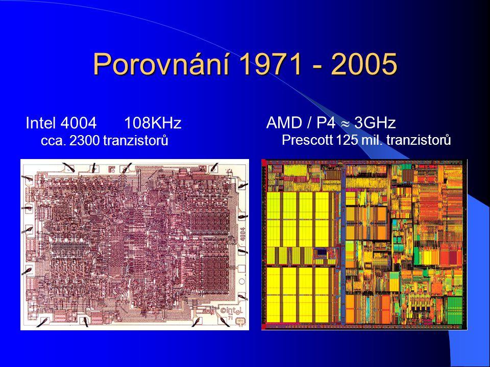 Porovnání 1971 - 2005 Intel 4004108KHz cca. 2300 tranzistorů AMD / P4  3GHz Prescott 125 mil.