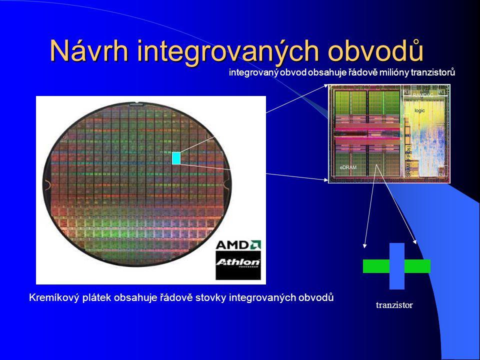 Návrh integrovaných obvodů Kremíkový plátek obsahuje řádově stovky integrovaných obvodů integrovaný obvod obsahuje řádově milióny tranzistorů tranzistor