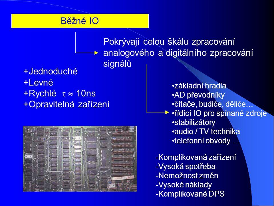 Běžné IO Pokrývají celou škálu zpracování analogového a digitálního zpracování signálů +Jednoduché +Levné +Rychlé   10ns +Opravitelná zařízení základní hradla AD převodníky čítače, budiče, děliče… řídící IO pro spínané zdroje stabilizátory audio / TV technika telefonní obvody … -Komplikovaná zařízení -Vysoká spotřeba -Nemožnost změn -Vysoké náklady -Komplikované DPS