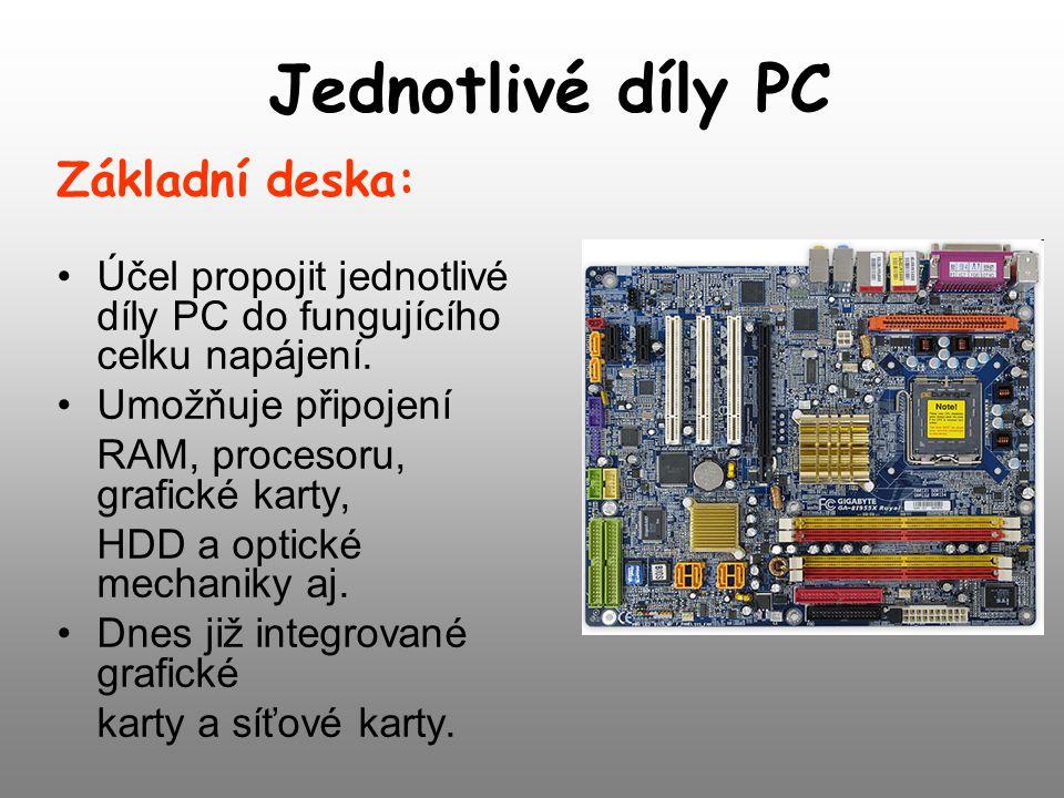 Jednotlivé díly PC Základní deska: Účel propojit jednotlivé díly PC do fungujícího celku napájení. Umožňuje připojení RAM, procesoru, grafické karty,