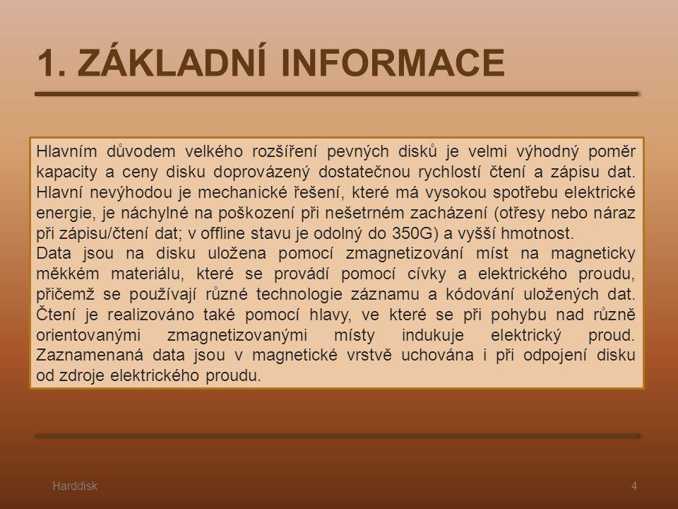 1. ZÁKLADNÍ INFORMACE Harddisk4 Hlavním důvodem velkého rozšíření pevných disků je velmi výhodný poměr kapacity a ceny disku doprovázený dostatečnou r