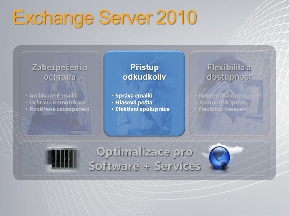 Přístup odkudkoliv Jednodušší práce s emaily −MailTips −Konverzační pohled −Outlook, OWA, WM Sdílení kalendářů mezi organizacemi OWA −Sdílené kalendáře −Online archiv −Integrace s OCS −Podpora RMS −Rozšířený režim v dalších prohlížečích SMS −Součástí mailboxu (dostupné i z OWA), odesílání/přijímání přes ActiveSync a mobil