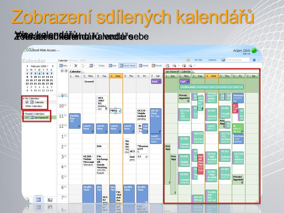 Zobrazení sdílených kalendářů