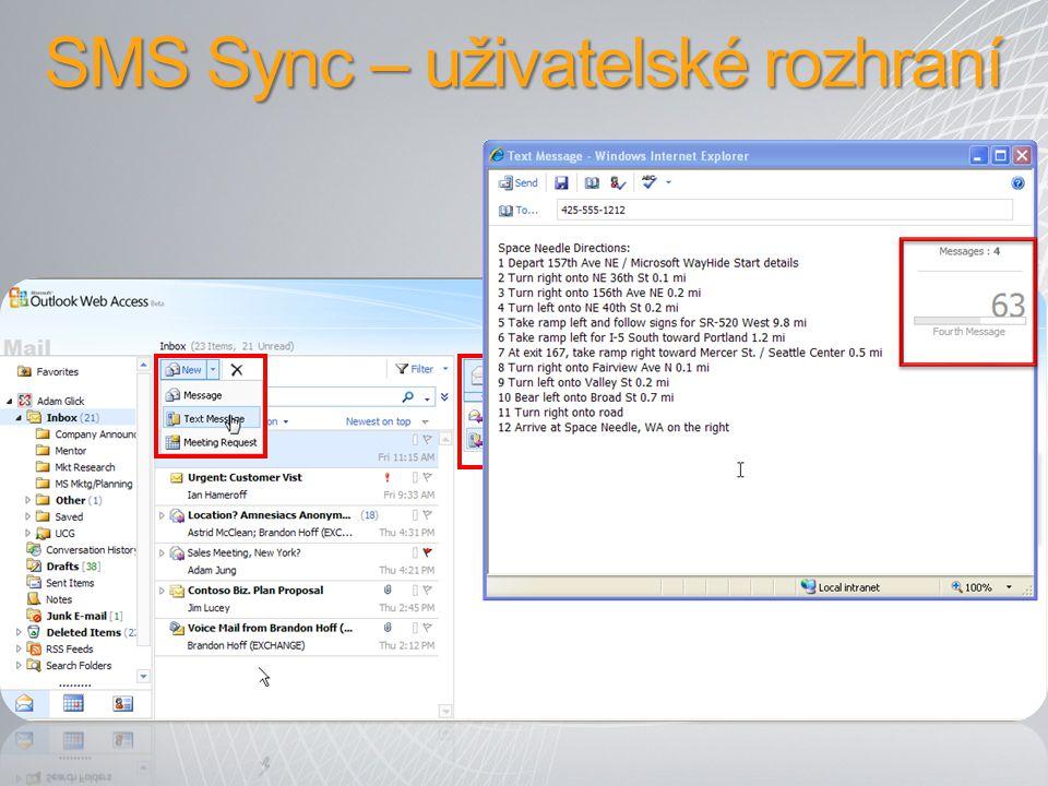 SMS Sync – uživatelské rozhraní