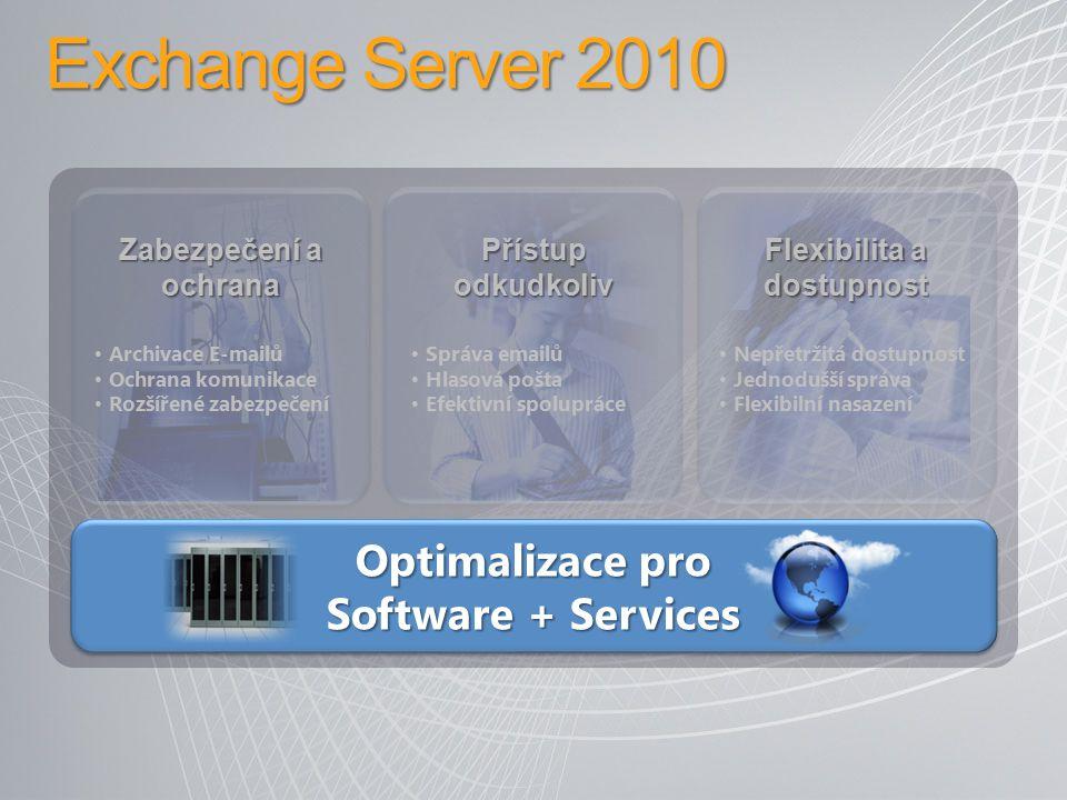Optimalizace pro Software + Services Archivace E-mailů Ochrana komunikace Rozšířené zabezpečení Správa emailů Hlasová pošta Efektivní spolupráce Nepře