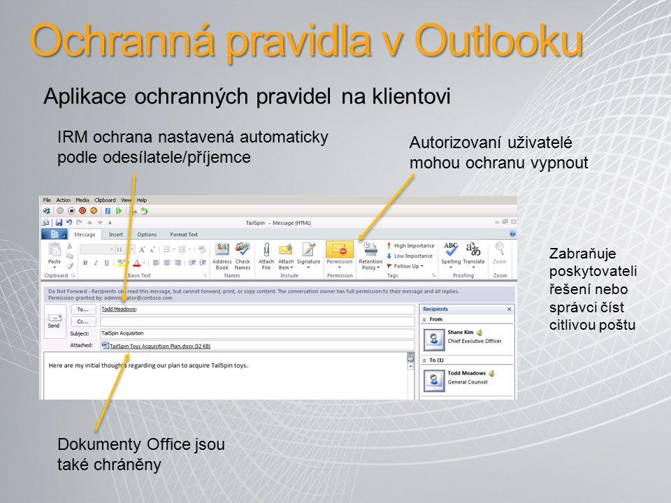 Ochranná pravidla v Outlooku IRM ochrana nastavená automaticky podle odesílatele/příjemce Dokumenty Office jsou také chráněny Autorizovaní uživatelé m