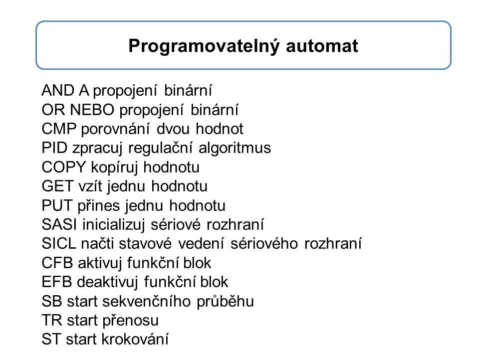 AND A propojení binární OR NEBO propojení binární CMP porovnání dvou hodnot PID zpracuj regulační algoritmus COPY kopíruj hodnotu GET vzít jednu hodno