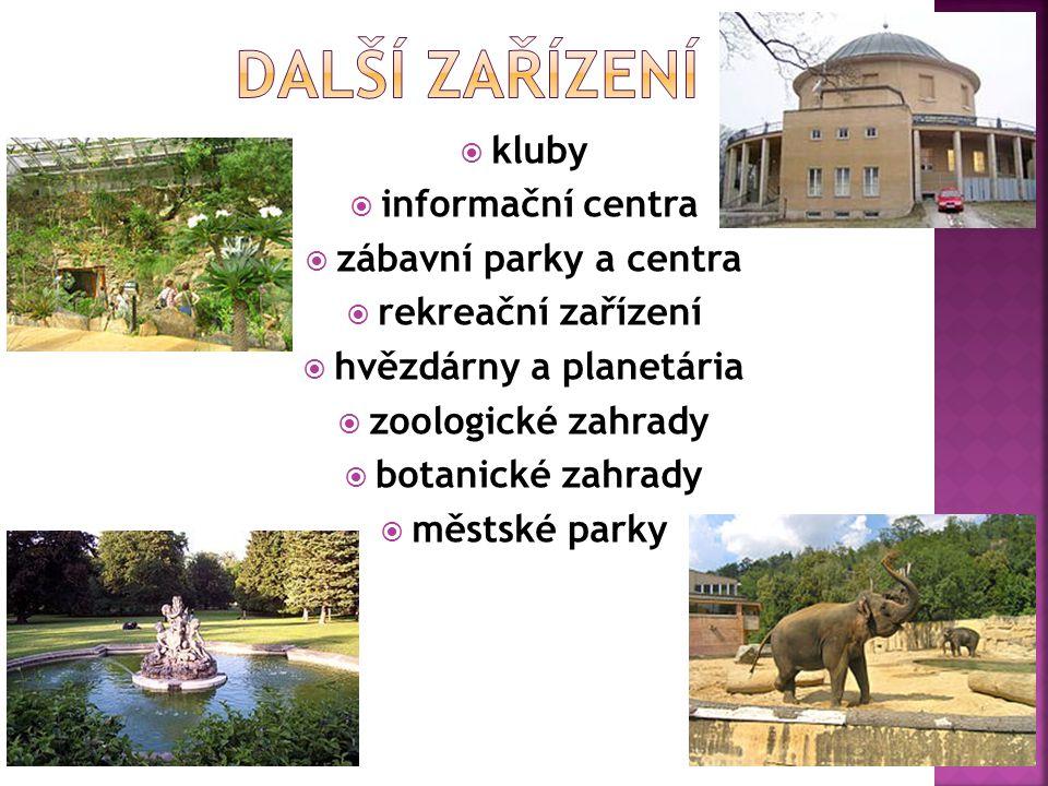  kluby  informační centra  zábavní parky a centra  rekreační zařízení  hvězdárny a planetária  zoologické zahrady  botanické zahrady  městské