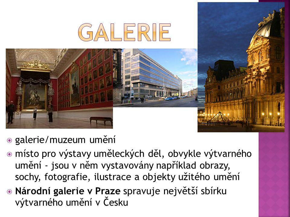  galerie/muzeum umění  místo pro výstavy uměleckých děl, obvykle výtvarného umění - jsou v něm vystavovány například obrazy, sochy, fotografie, ilus