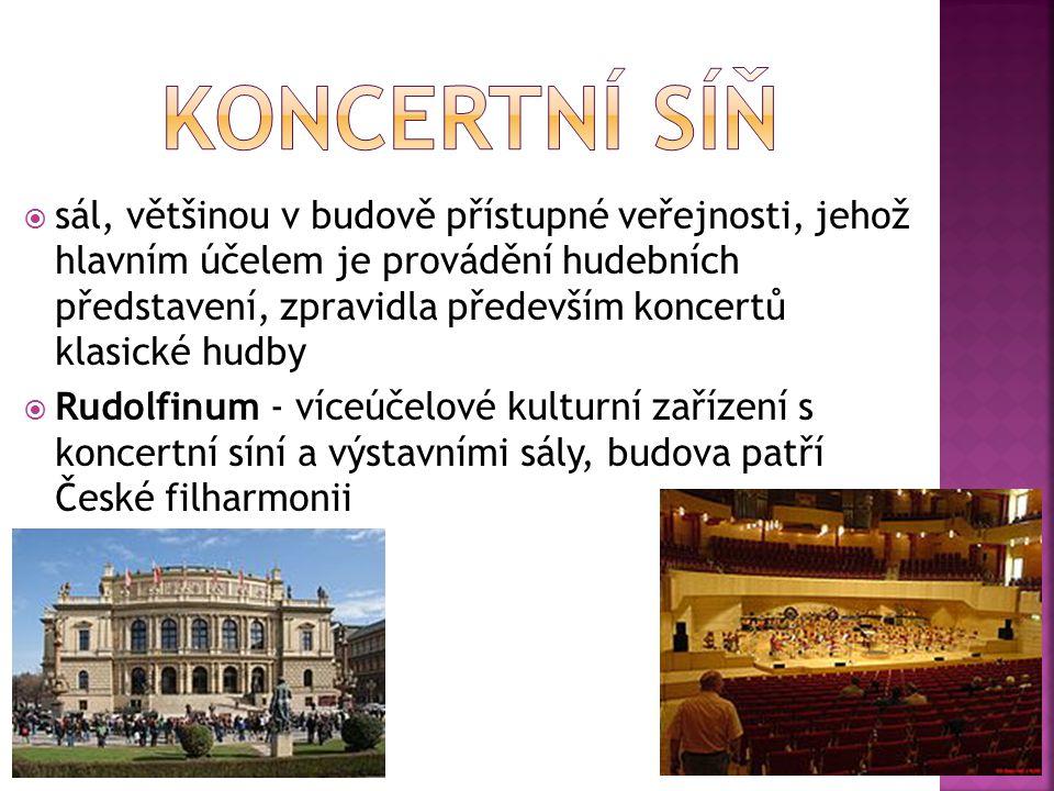  sál, většinou v budově přístupné veřejnosti, jehož hlavním účelem je provádění hudebních představení, zpravidla především koncertů klasické hudby 