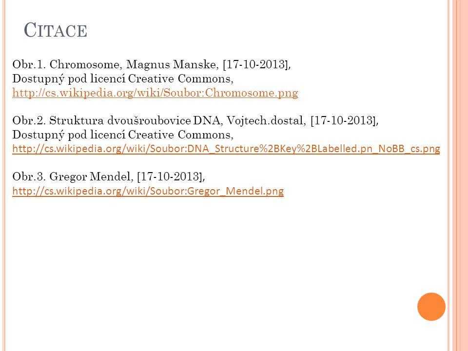 C ITACE Obr.1. Chromosome, Magnus Manske, [17-10-2013 ], Dostupný pod licencí Creative Commons, http://cs.wikipedia.org/wiki/Soubor:Chromosome.png Obr
