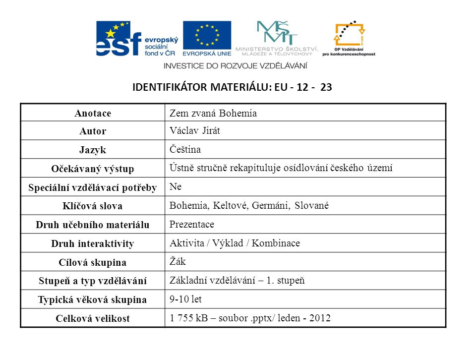 IDENTIFIKÁTOR MATERIÁLU: EU - 12 - 23 AnotaceZem zvaná Bohemia Autor Václav Jirát Jazyk Čeština Očekávaný výstup Ústně stručně rekapituluje osídlování