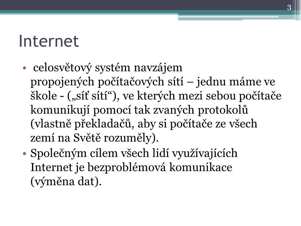 """Internet celosvětový systém navzájem propojených počítačových sítí – jednu máme ve škole - (""""síť sítí ), ve kterých mezi sebou počítače komunikují pomocí tak zvaných protokolů (vlastně překladačů, aby si počítače ze všech zemí na Světě rozuměly)."""