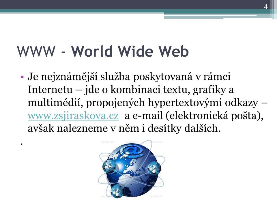 WWW - World Wide Web Je nejznámější služba poskytovaná v rámci Internetu – jde o kombinaci textu, grafiky a multimédií, propojených hypertextovými odkazy – www.zsjiraskova.cz a e-mail (elektronická pošta), avšak nalezneme v něm i desítky dalších.
