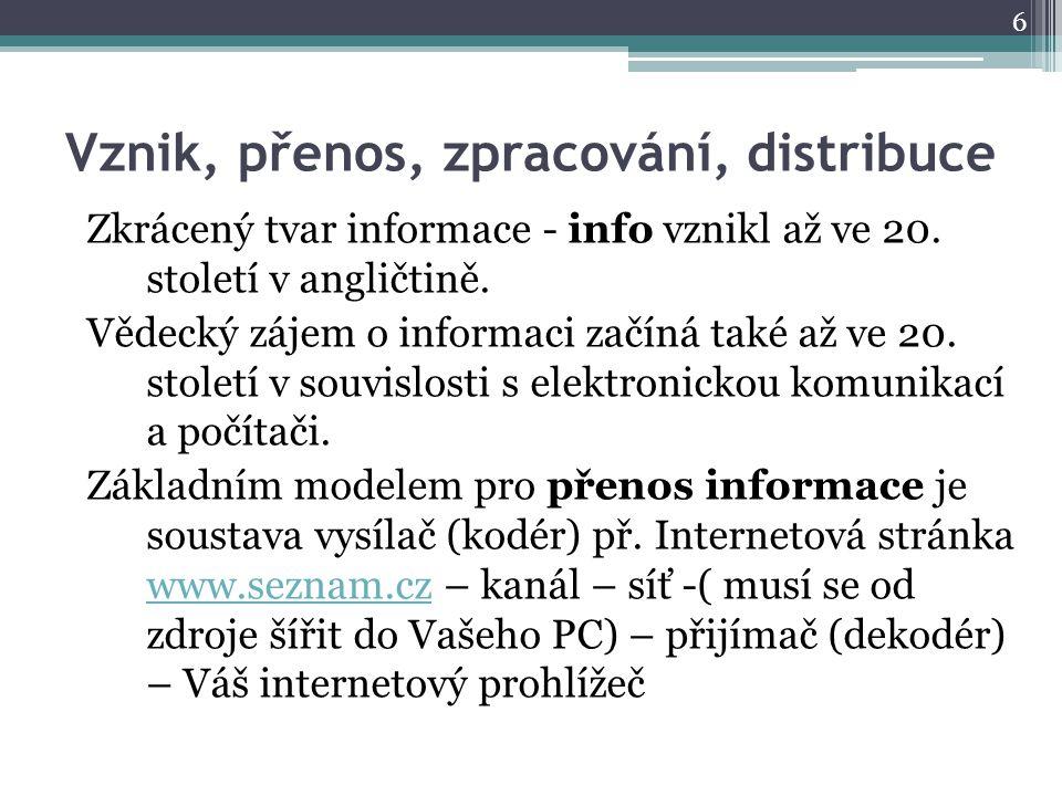 Vznik, přenos, zpracování, distribuce Zkrácený tvar informace - info vznikl až ve 20.
